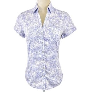 New York & Company Blue Floral Maze Button Top S